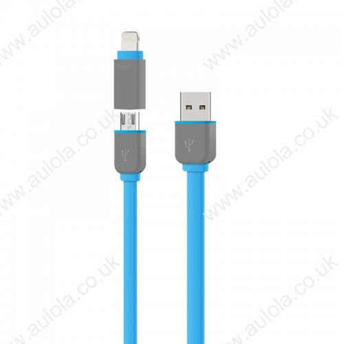 2-in-1 Stretchable Data Charging Cable for iPhone 5/6 Samsung - Blue