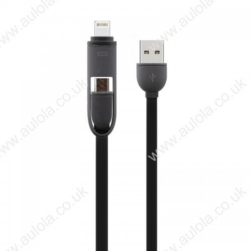 2-in-1 Stretchable Data Charging Cable for iPhone 5/6 Samsung - Black