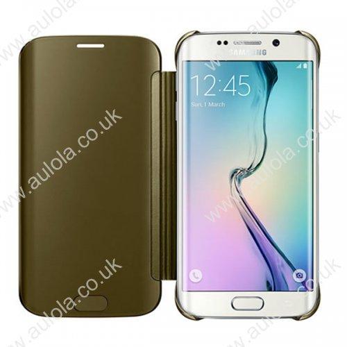 Mirror Flip Smart Case Cover for Samsung Galaxy S6 Edge - Gold