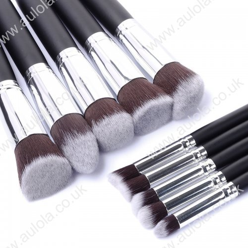 10pcs Kabuki Style Professional Makeup Brush Set Kit -Black Silver