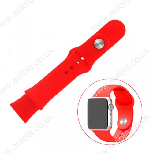 Soft Sillicone Rubber Watchband for Apple iWatch 38mm - Red