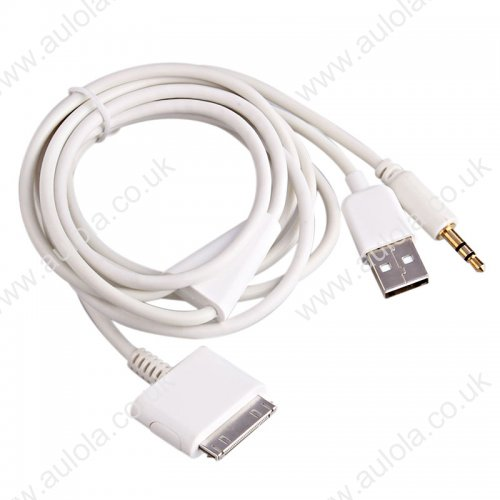 1.2m Car Audio AUX Cable Adapter for iPhone 4/4S - White