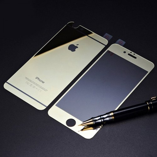 Front + Back Electroplate Mirror Tempered Glass Arch Edge Screen Protect Film for iPhone 6 4.7 - Gold