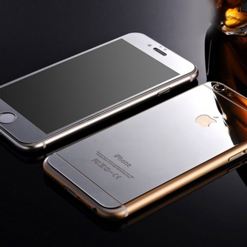 Front + Back Electroplate Mirror Tempered Glass Arch Edge Screen Protect Film for iPhone 6 4.7 - Silver