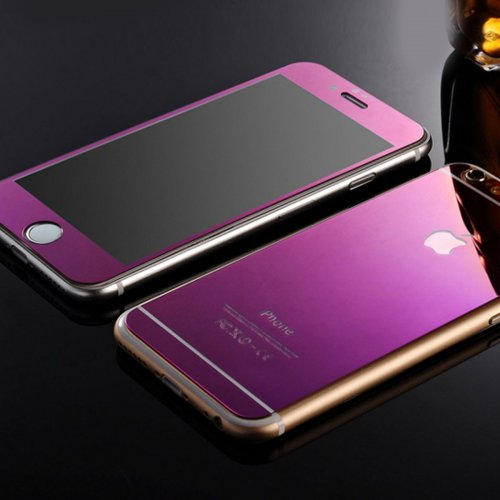 Front + Back Electroplate Mirror Tempered Glass Arch Edge Screen Protect Film for iPhone 6 4.7 - Purple