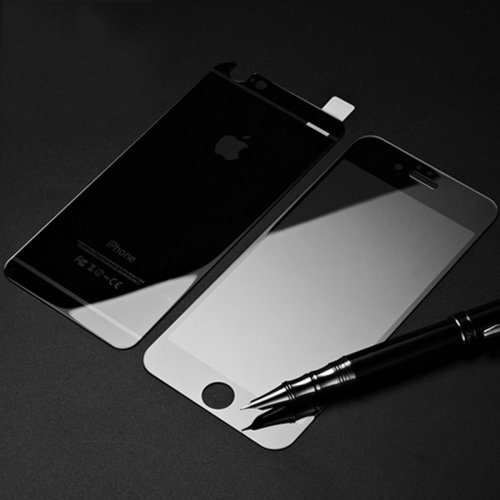 Front + Back Electroplate Mirror Tempered Glass Arch Edge Screen Protect Film for iPhone 6 4.7 - Black