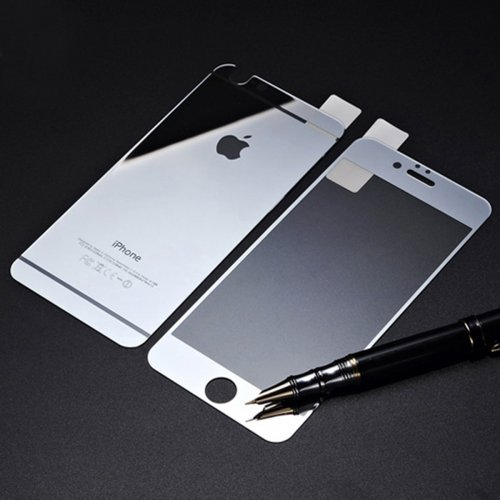 Front + Back Electroplate Mirror Tempered Glass Arch Edge Screen Protect Film for iPhone 6 5.5 - Silver