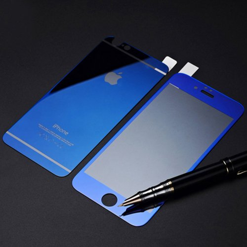 Front + Back Electroplate Mirror Tempered Glass Arch Edge Screen Protect Film for iPhone 6 5.5 - Blue