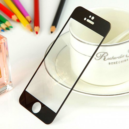 Front + Back Electroplate Mirror Tempered Glass Arch Edge Screen Protect Film for iPhone 6 5.5 - Black