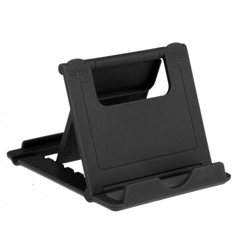 L Shape Universal Phone Tablet Fodable Portable Stand Mount Holder - Black