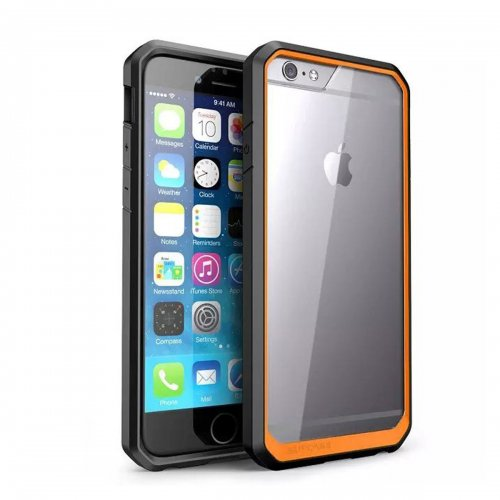 Scratch Resistant TPU PC Transparent Case Bumper Skin for iPhone 6 4.7 - Orange