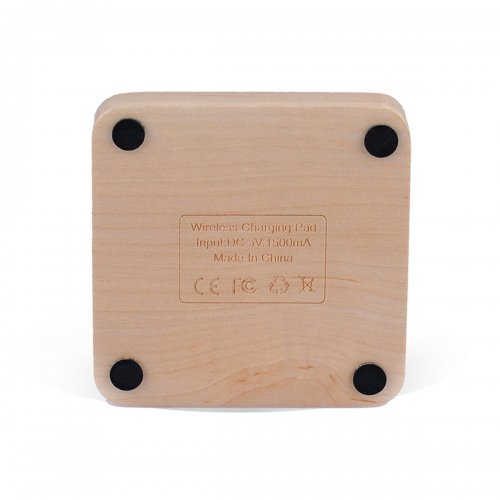 Wood Square Wireless Charing Charger Transmitter Dock Pad for iPhone Samsung HTC