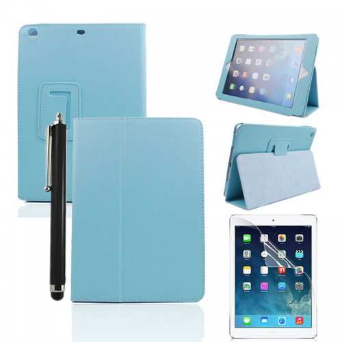 Light Blue Two Fold Stand Case Cover for iPad 5(Air) + Protective film + Stylus