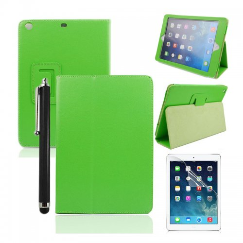 Green Two Fold Stand Case Cover for iPad 5(Air) + Protective film + Stylus