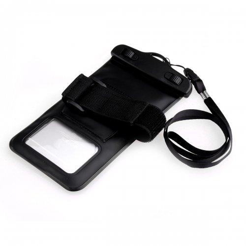 Dual Purpose Waterproof Bag with Plastic Clip phone samsung iphone - Black