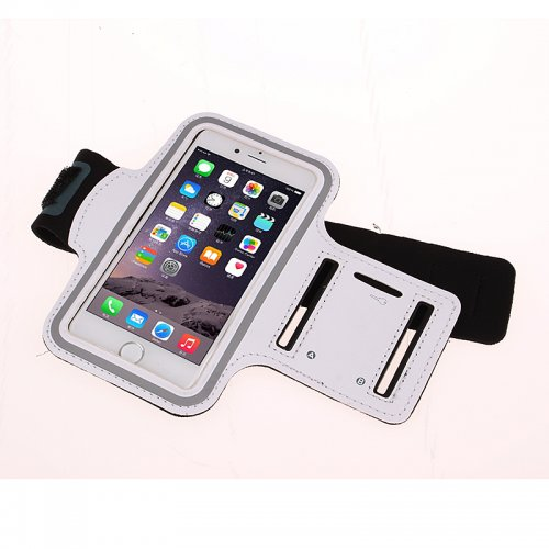 Adjustable Armband Armlet Velcro Strap for iPhone 6 Plus 5.5 - White