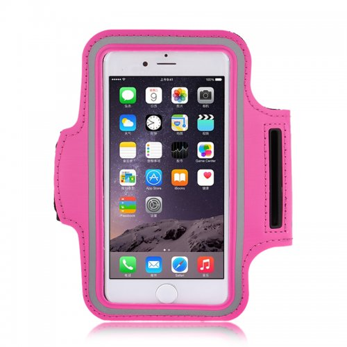 Adjustable Armband Armlet Velcro Strap for iPhone 6 Plus 5.5 - Rose Red