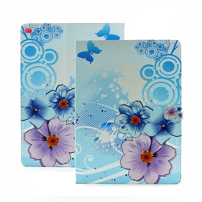 Flower Blossom Magnetic Flip Stand Leather Case Cover Shell for iPad Pro - Light Blue