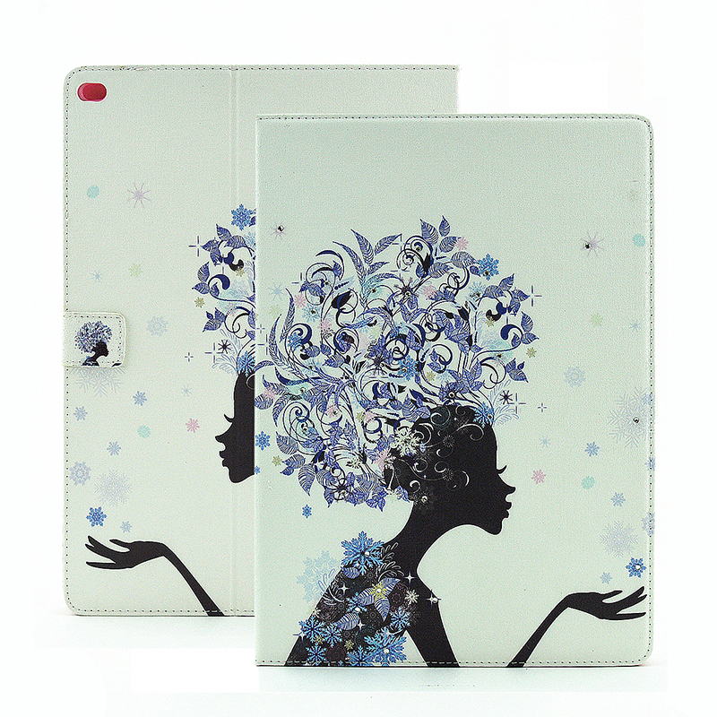 Flower Blossom Magnetic Flip Stand Leather Case Cover Shell for iPad Pro - Blue Fairy