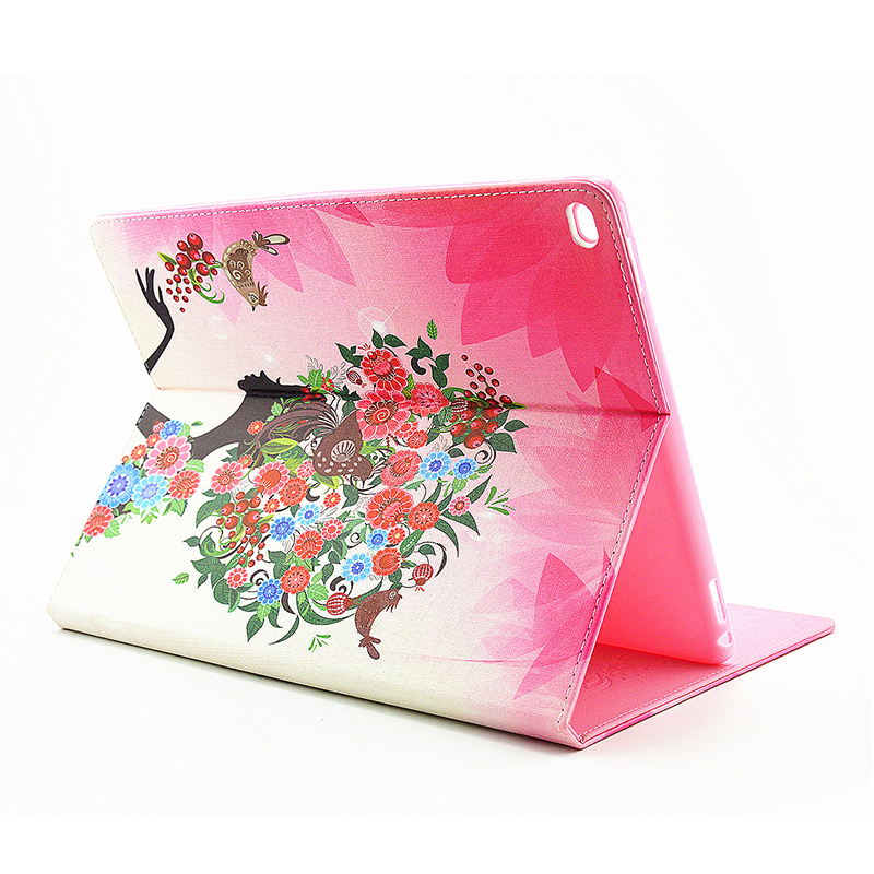 Flower Blossom Magnetic Flip Stand Leather Case Cover Shell for iPad Pro - Birds Fairy