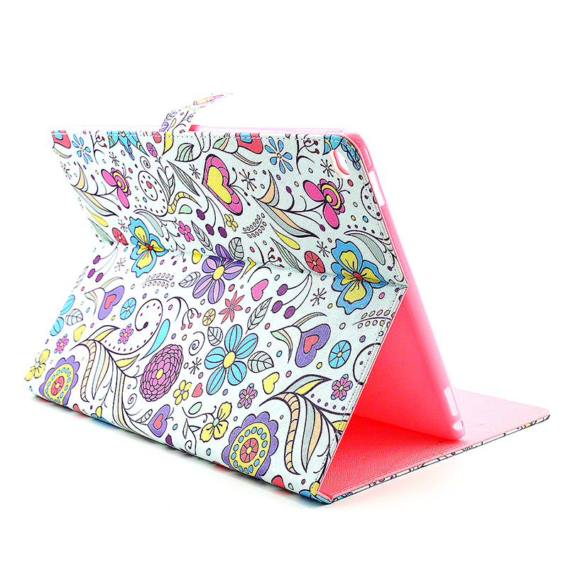 Colorful Magnetic Flip Stand Leather Case Cover Shell for iPad Pro - Blossom
