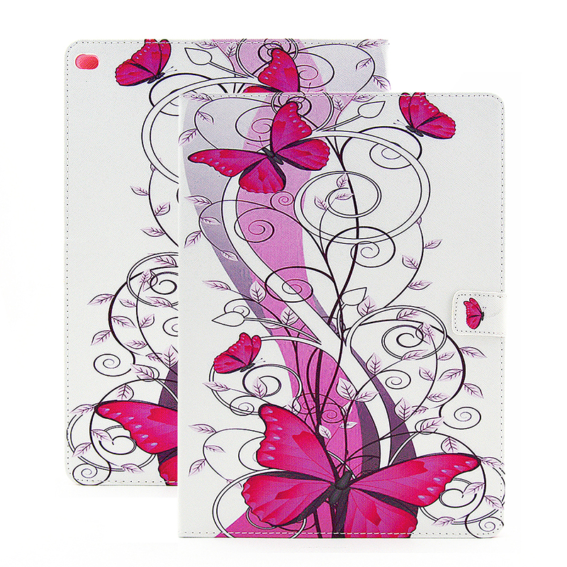 Colorful Magnetic Flip Stand Leather Case Cover Shell for iPad Pro - Red Butterfly