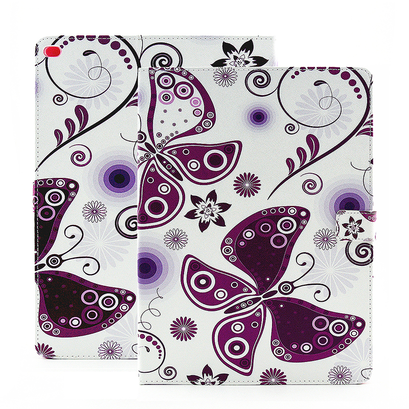 Colorful Magnetic Flip Stand Leather Case Cover Shell for iPad Pro - Purple Butterfly