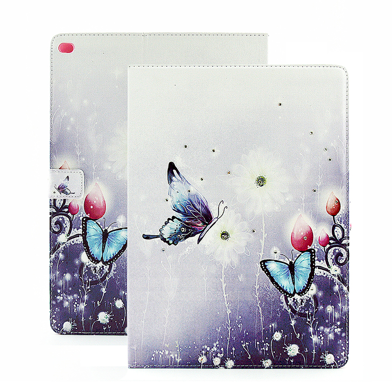 Bling Crystal Magnetic Flip Stand Leather Case Cover Shell for iPad Pro - Butterfly