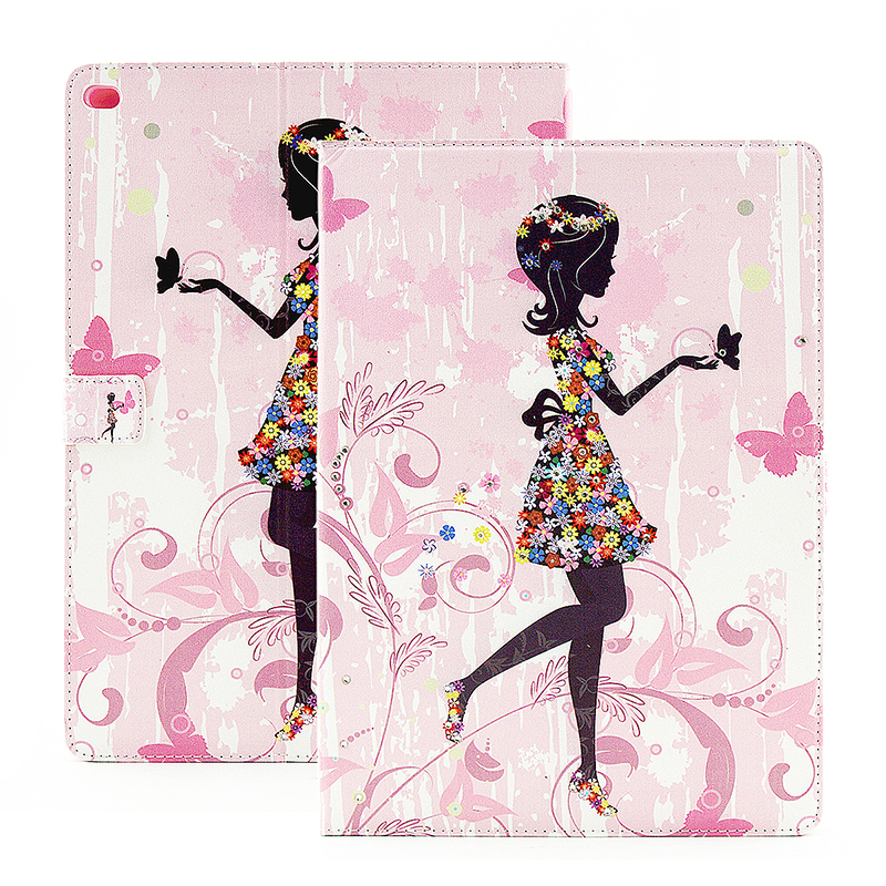 Bling Crystal Magnetic Flip Stand Leather Case Cover Shell for iPad Pro - Flower Girl