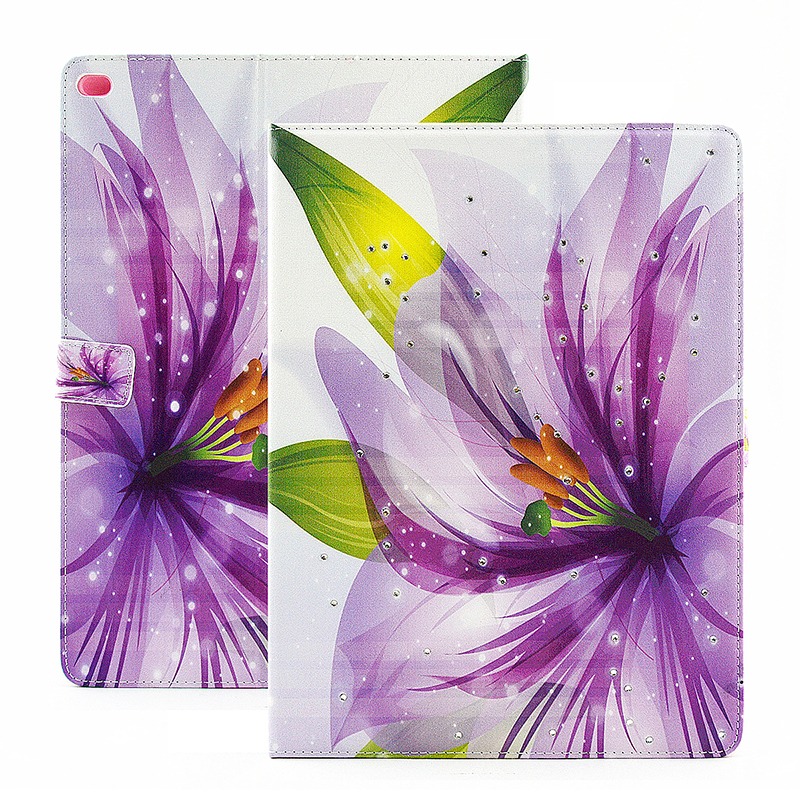 Bling Crystal Magnetic Flip Stand Leather Case Cover Shell for iPad Pro - Purple Petal