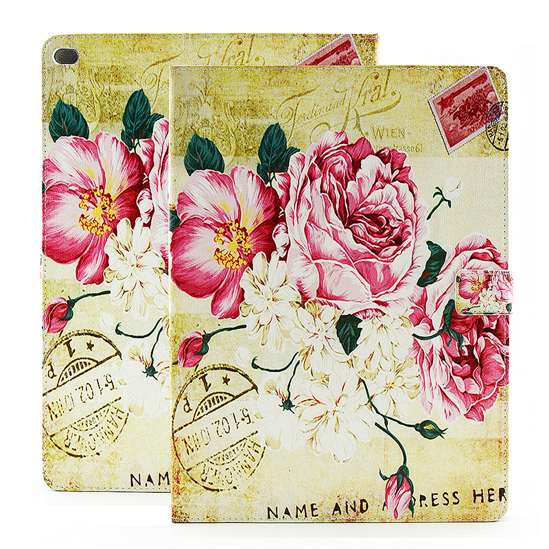 Vintage Style Magnetic Flip Stand Leather Case Cover Shell for iPad Pro - Peony