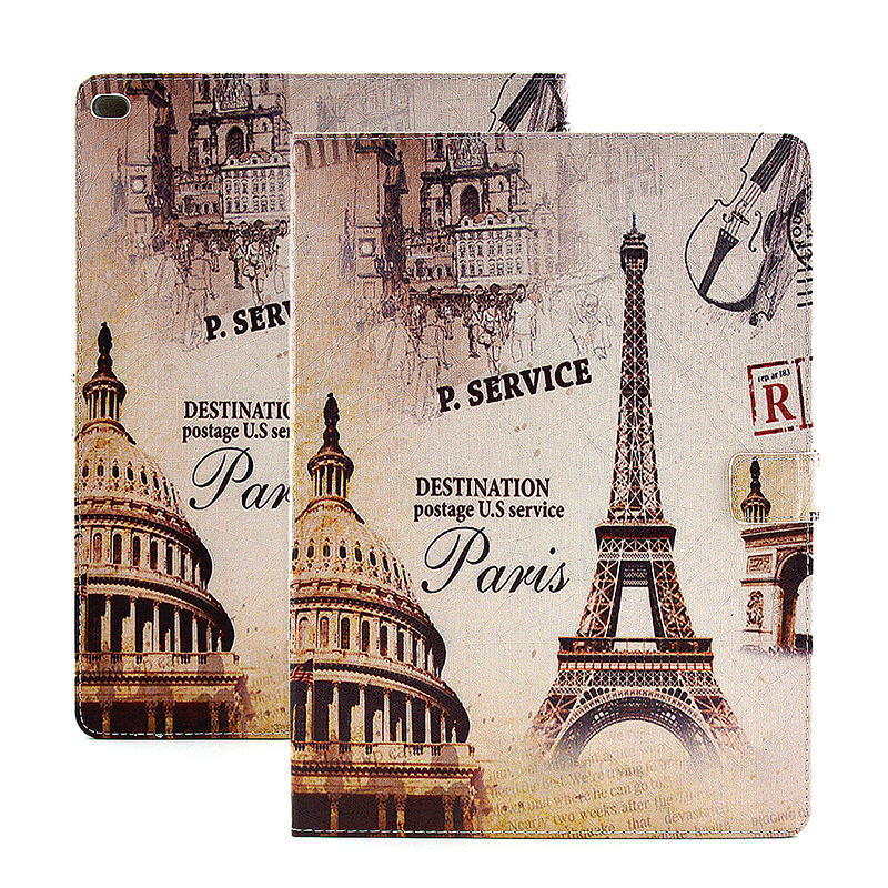 Vintage Style Magnetic Flip Stand Leather Case Cover Shell for iPad Pro - Paris