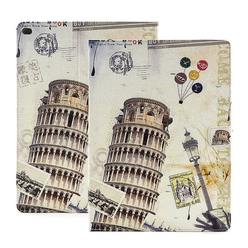 Vintage Style Magnetic Flip Stand Leather Case Cover Shell for iPad Pro - Leaning Tower