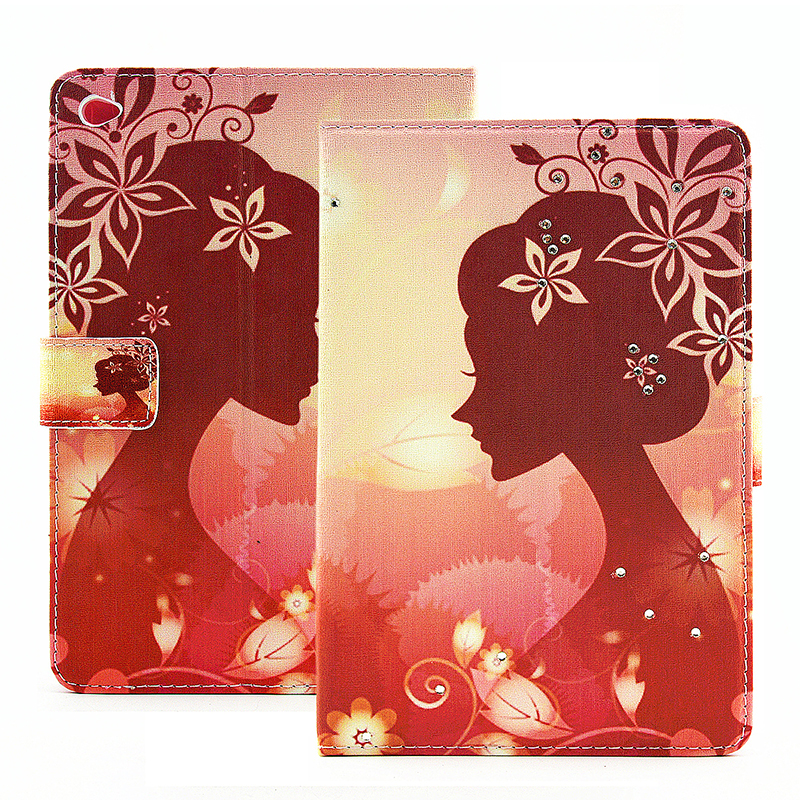 Bling Magnetic Flip Stand Leather Case Cover Shell for iPad  Mini 4 - Autumn Fairy