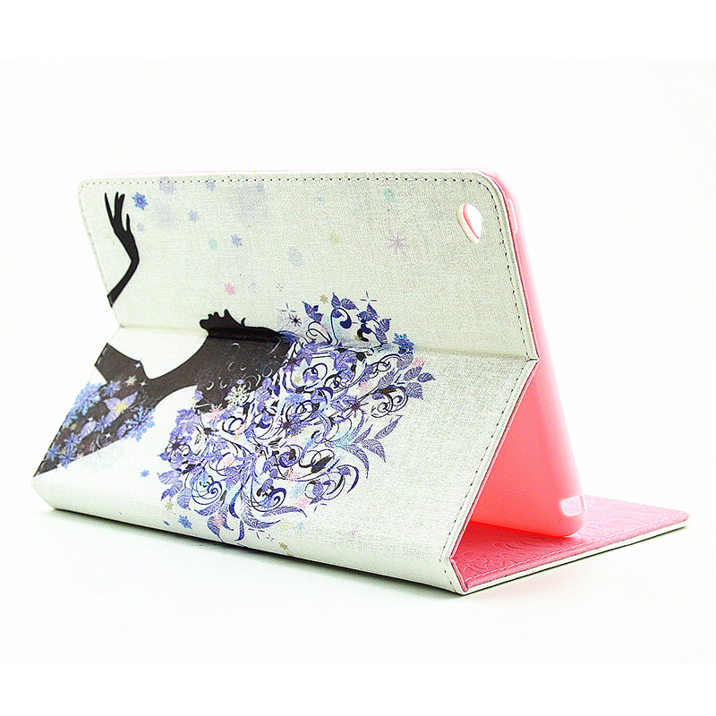 Bling Magnetic Flip Stand Leather Case Cover Shell for iPad  Mini 4 - Blue Fairy