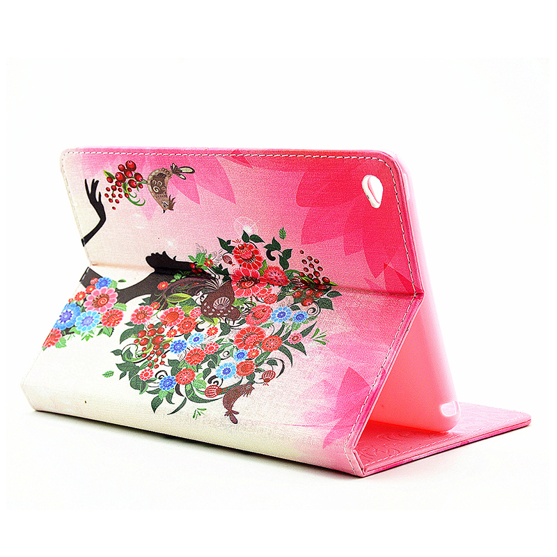 Bling Magnetic Flip Stand Leather Case Cover Shell for iPad  Mini 4 - Bird Fairy