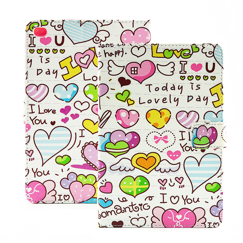Colorful Magnetic Flip Stand Leather Case Cover Shell for iPad  Mini 4 - Heart Shape