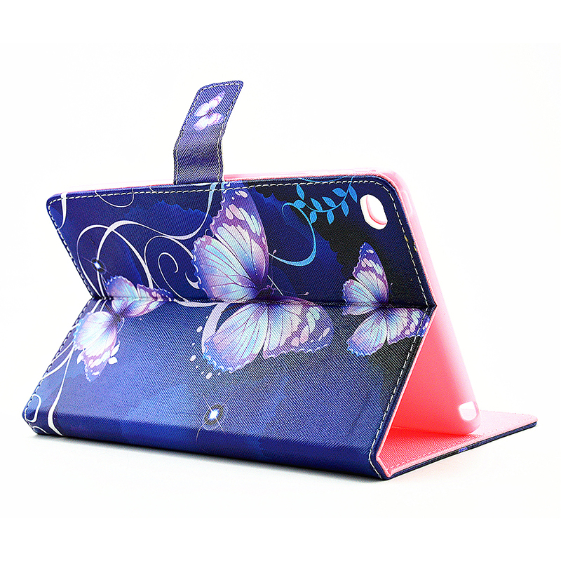 Colorful Magnetic Flip Stand Leather Case Cover Shell for iPad  Mini 4 - Purple Blue