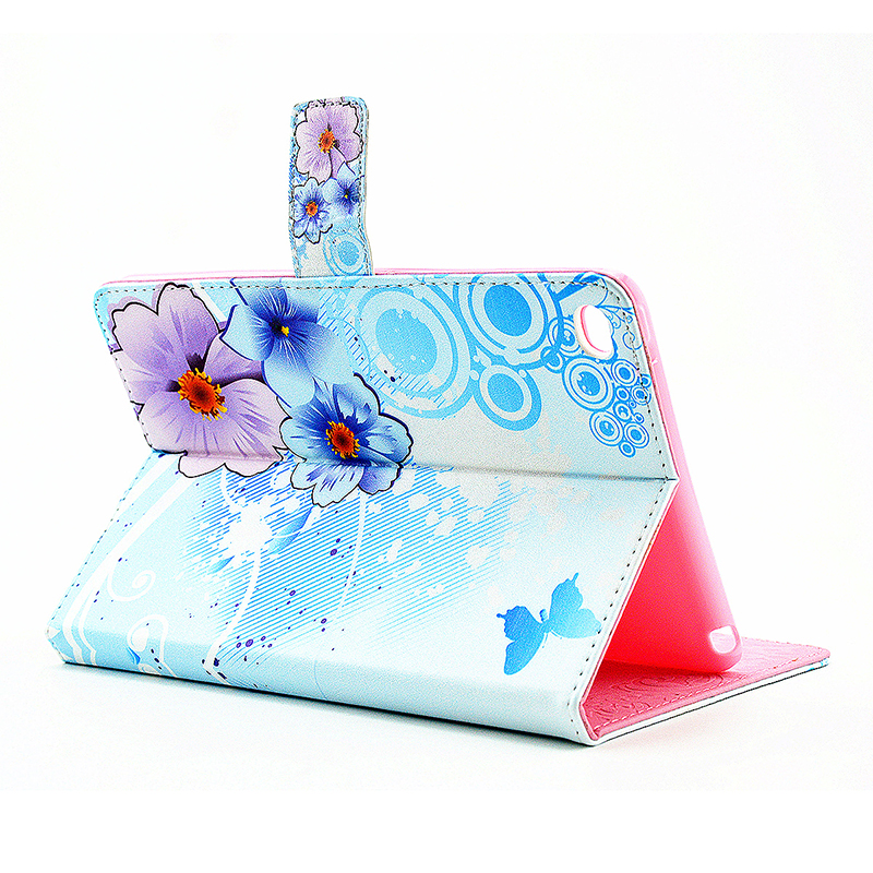 Flower Blossom Magnetic Flip Stand Leather Case Cover Shell for iPad Mini 4 - Light Blue
