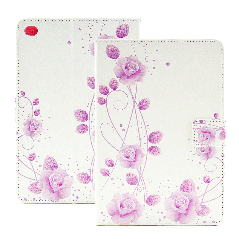 Flower Blossom Magnetic Flip Stand Leather Case Cover Shell for iPad Mini 4 - Rose