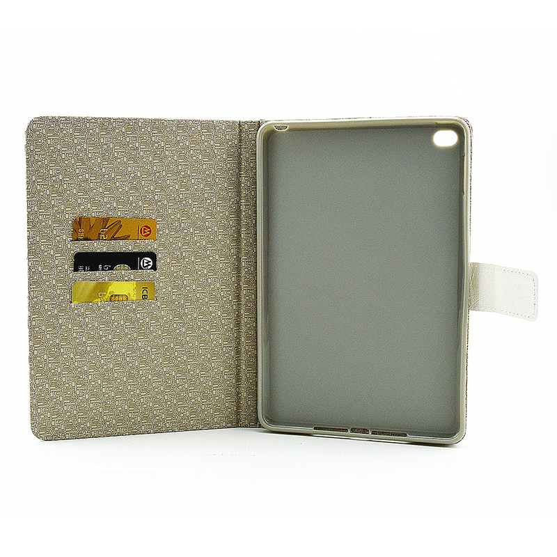Vintage Style Magnetic Flip Stand Leather Case Cover Shell for iPad Mini 4 - Peony