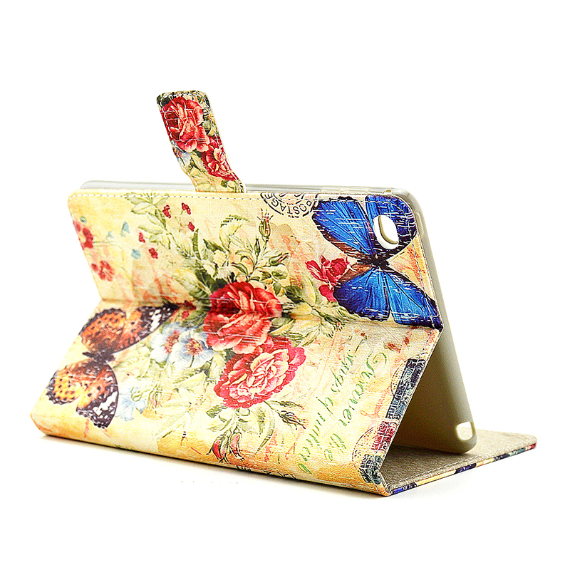 Vintage Style Magnetic Flip Stand Leather Case Cover Shell for iPad Mini 4 - Camellia