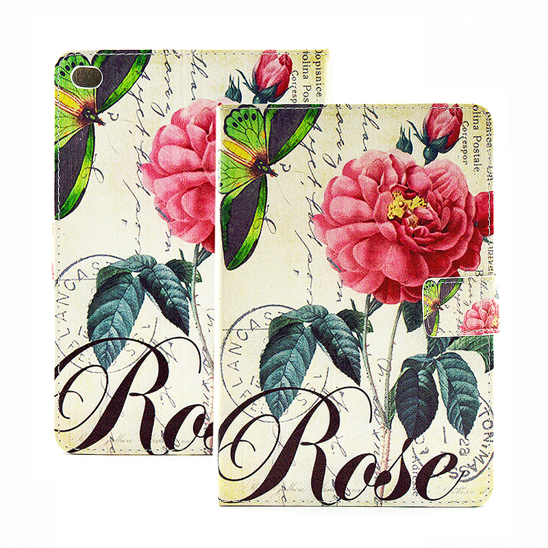 Vintage Style Magnetic Flip Stand Leather Case Cover Shell for iPad Mini 4 - Rose