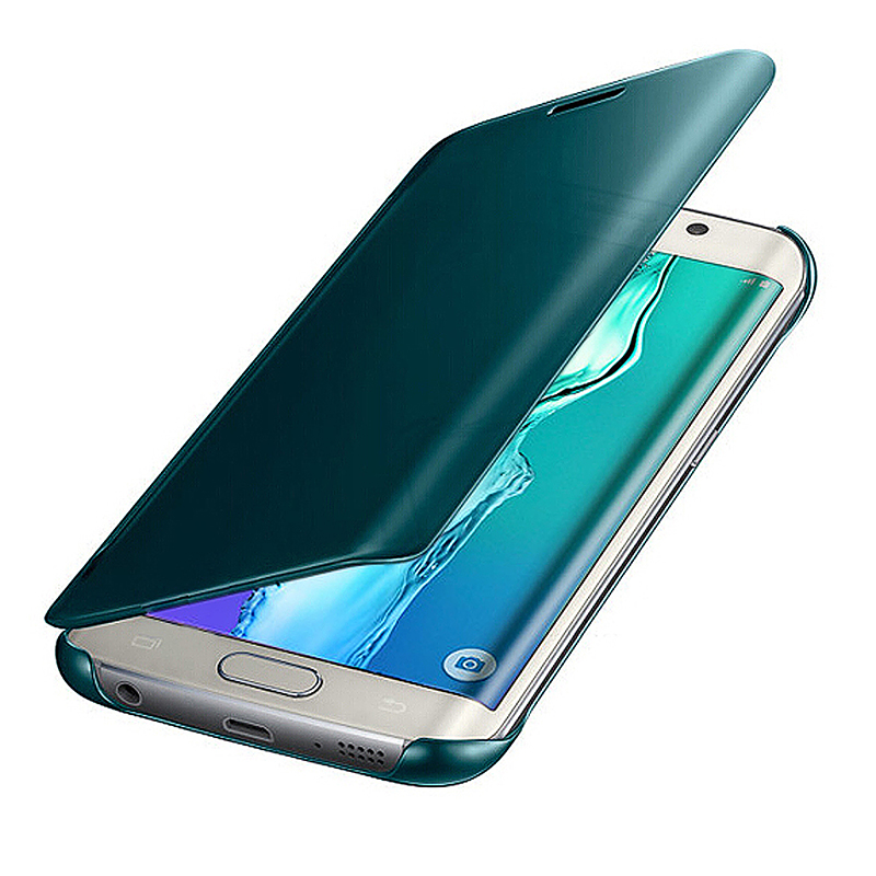 Mirror Effect Flip Smart Case Cover for Samsung Galaxy S6 Edge Plus - Blue