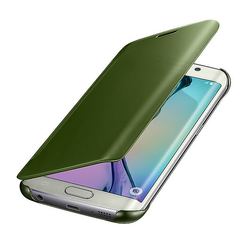 Mirror Effect Flip Smart Case Slim Thin Hard Clear Cover for Samsung Galaxy S6 Edge Plus - Green