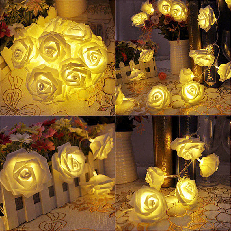 20 LED 2m Rose Flower Fairy Wedding Party Christmas Decoration String Lights