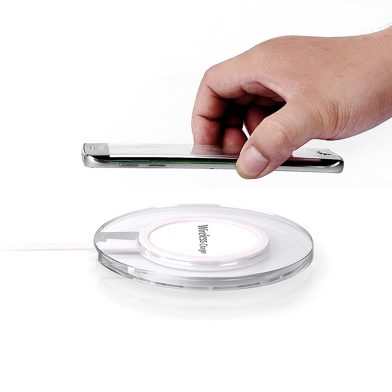A9 Transparent Round Qi Wireless Charger Charging Pad for Samsung S6 Edge - White