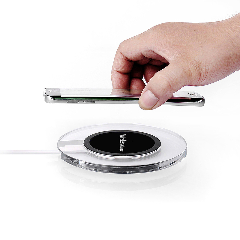 A9 Transparent Round Qi Wireless Charger Charging Pad for Samsung S6 Edge - Black