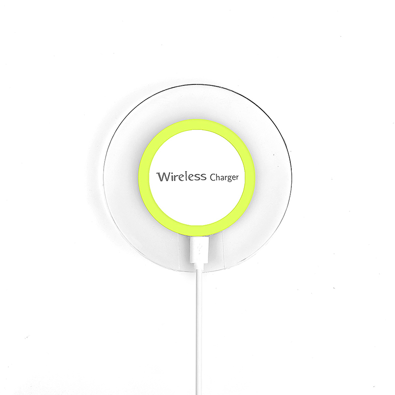 A9 Transparent Round Qi Wireless Charger Charging Pad for Samsung S6 Edge - Green