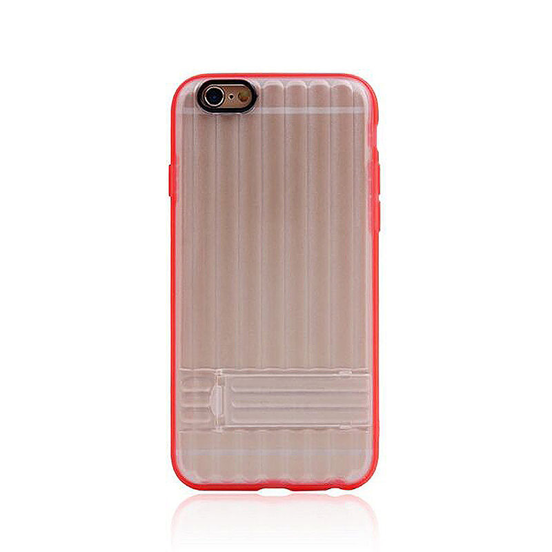Transparent Case with Folden Stand Bracket for iPhone 6 4.7 - Red